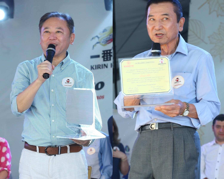 Img: Deputados Junji e Ihoshi são homenageados na abertura do Akimatsuri